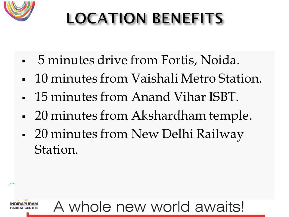 5 minutes drive from Fortis, Noida. 10 minutes from Vaishali Metro Station.