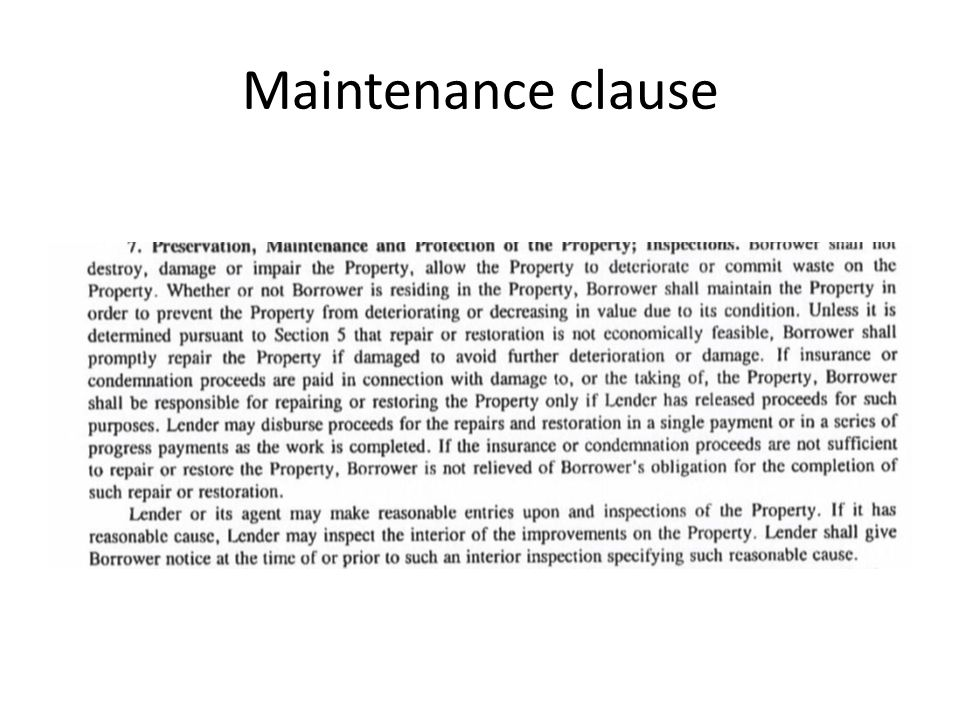 Maintenance clause