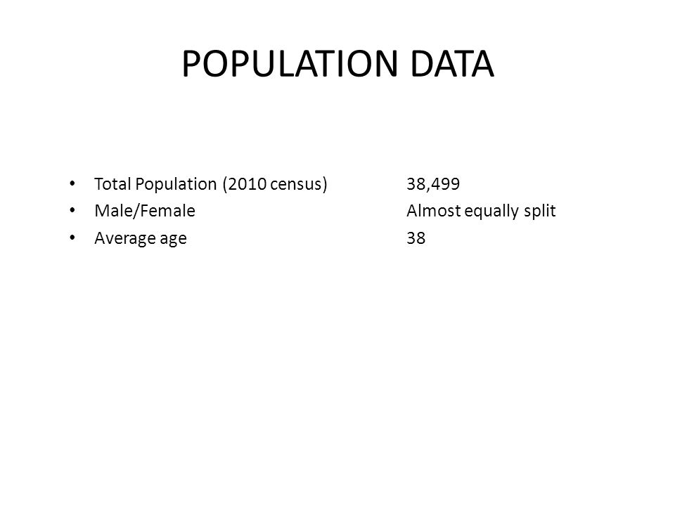 POPULATION DATA Total Population (2010 census)38,499 Male/FemaleAlmost equally split Average age38