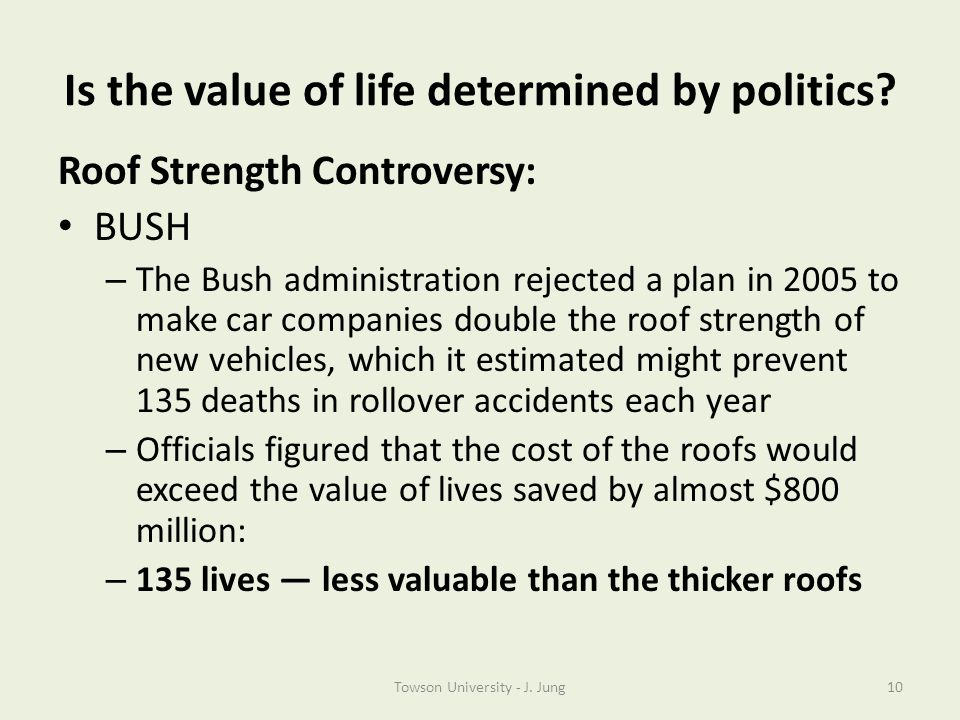 Is the value of life determined by politics? Roof Strength Controversy: BUSH – The Bush administration rejected a plan in 2005 to make car companies d