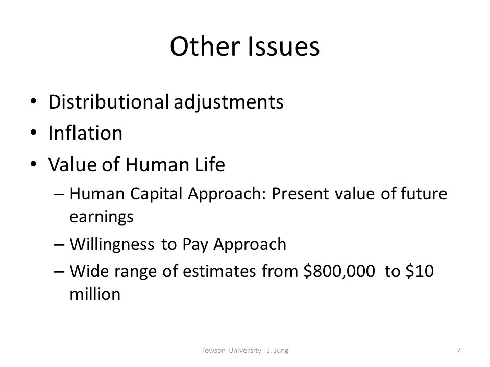 Other Issues Distributional adjustments Inflation Value of Human Life – Human Capital Approach: Present value of future earnings – Willingness to Pay