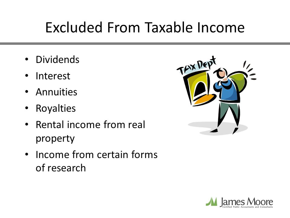 Excluded From Taxable Income Dividends Interest Annuities Royalties Rental income from real property Income from certain forms of research