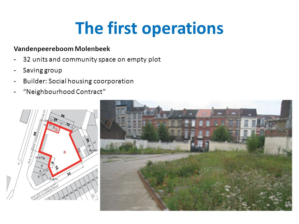 The first operations Vandenpeereboom Molenbeek -32 units and community space on empty plot -Saving group -Builder: Social housing coorporation -Neighb