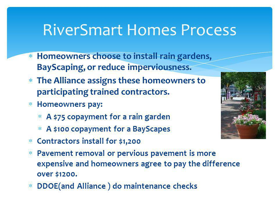 Homeowners choose to install rain gardens, BayScaping, or reduce imperviousness. The Alliance assigns these homeowners to participating trained contra