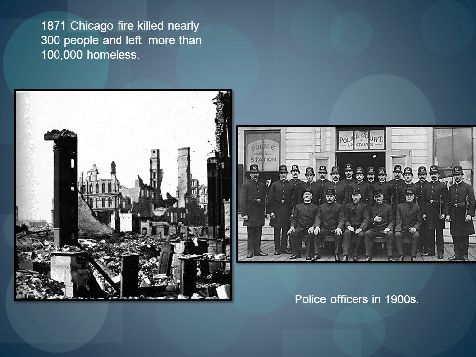 1871 Chicago fire killed nearly 300 people and left more than 100,000 homeless. Police officers in 1900s.