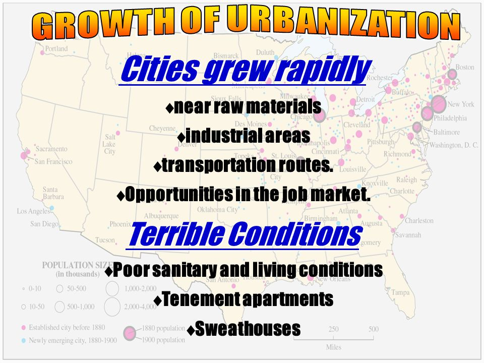 Cities grew rapidly near raw materials industrial areas transportation routes. Opportunities in the job market. Terrible Conditions Poor sanitary and