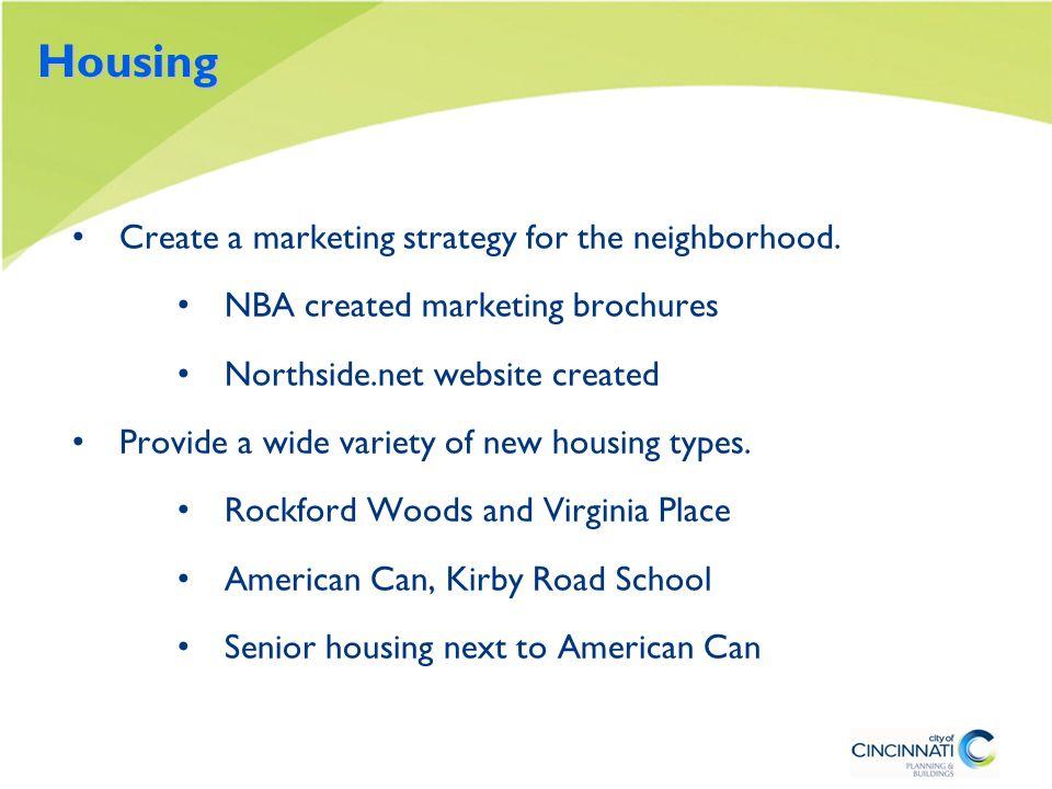 Housing Create a marketing strategy for the neighborhood.