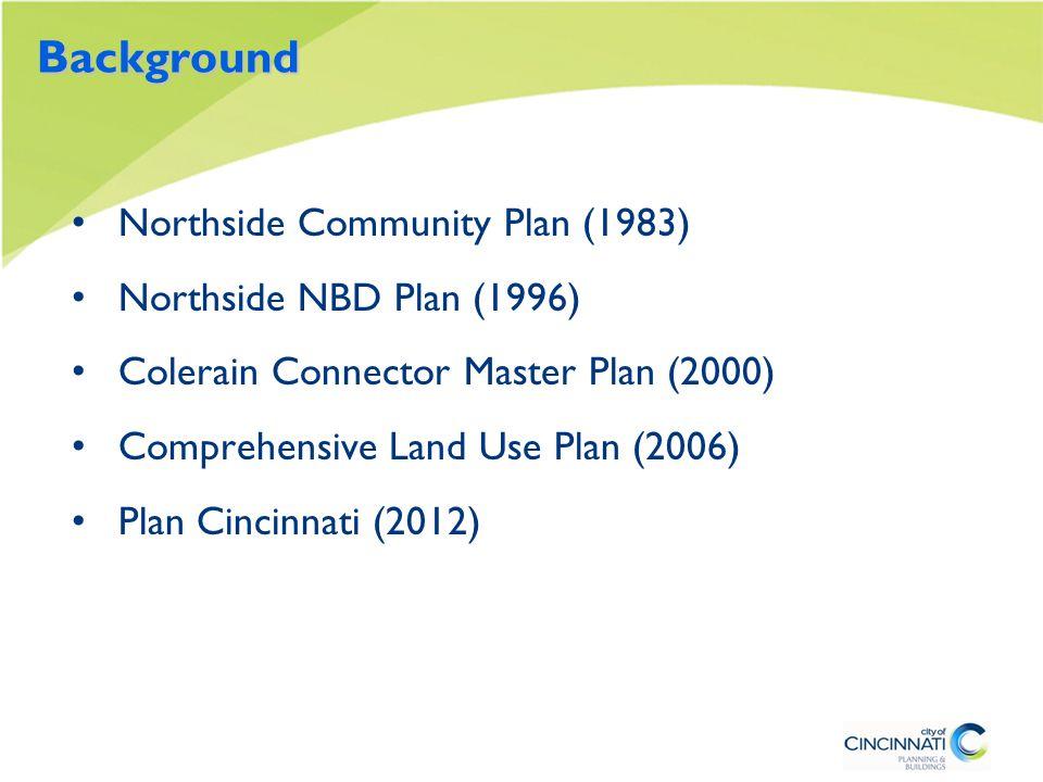 Background Northside Community Plan (1983) Northside NBD Plan (1996) Colerain Connector Master Plan (2000) Comprehensive Land Use Plan (2006) Plan Cincinnati (2012)