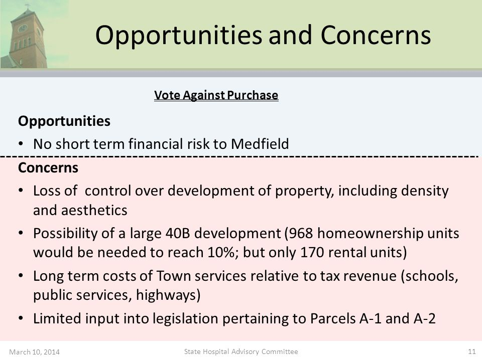 Opportunities and Concerns Opportunities No short term financial risk to Medfield Concerns Loss of control over development of property, including den