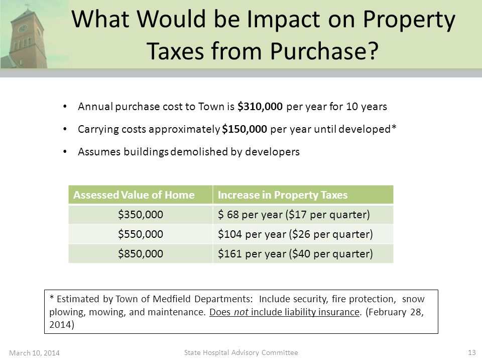 What Would be Impact on Property Taxes from Purchase? March 10, 2014 13 Annual purchase cost to Town is $310,000 per year for 10 years Carrying costs