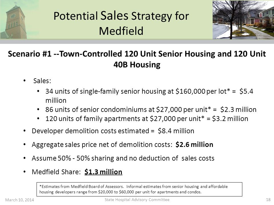 Potential Sales Strategy for Medfield March 10, 2014 18 Sales: 34 units of single-family senior housing at $160,000 per lot* = $5.4 million 86 units o
