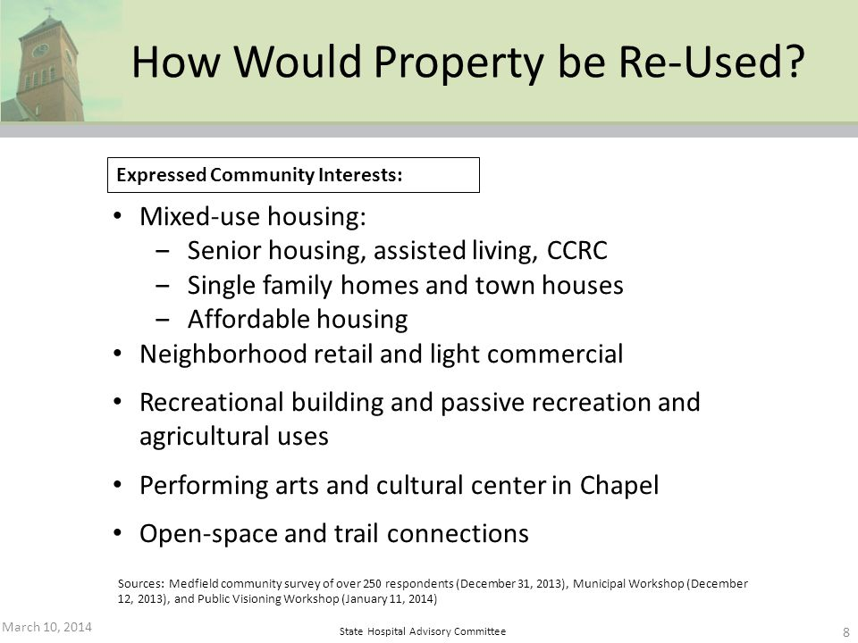 State Hospital Advisory Committee Mixed-use housing: Senior housing, assisted living, CCRC Single family homes and town houses Affordable housing Neig