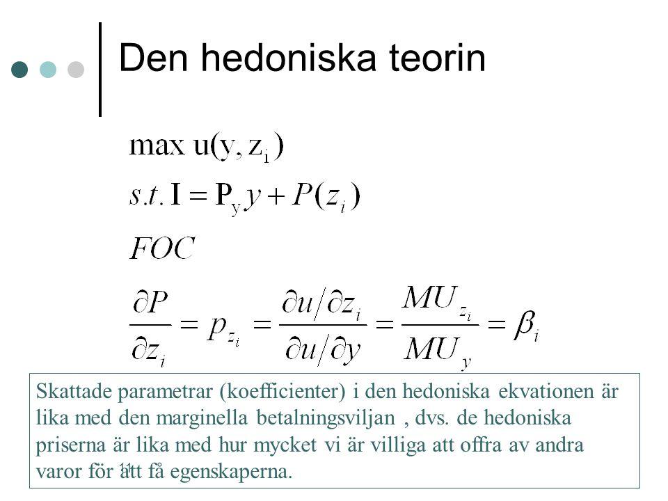 11 Den hedoniska teorin Skattade parametrar (koefficienter) i den hedoniska ekvationen är lika med den marginella betalningsviljan, dvs. de hedoniska