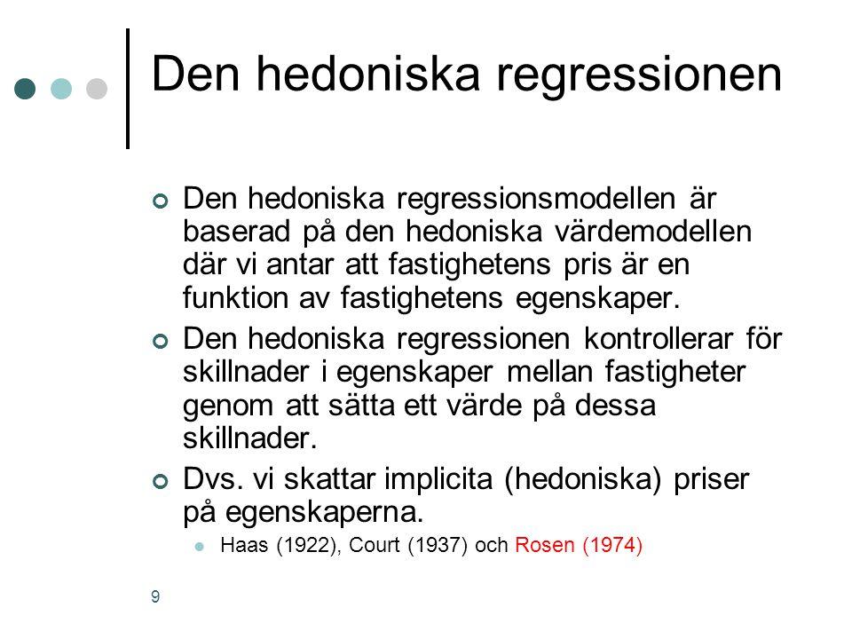 9 Den hedoniska regressionen Den hedoniska regressionsmodellen är baserad på den hedoniska värdemodellen där vi antar att fastighetens pris är en funktion av fastighetens egenskaper.