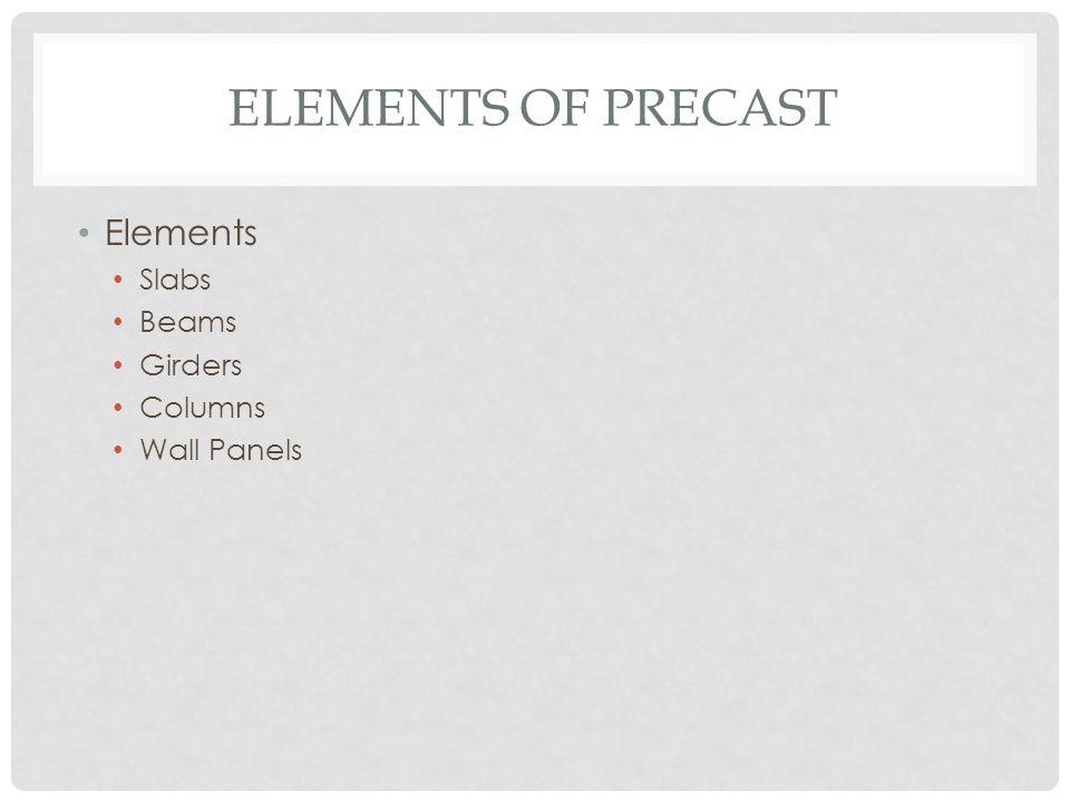 ELEMENTS OF PRECAST Elements Slabs Beams Girders Columns Wall Panels