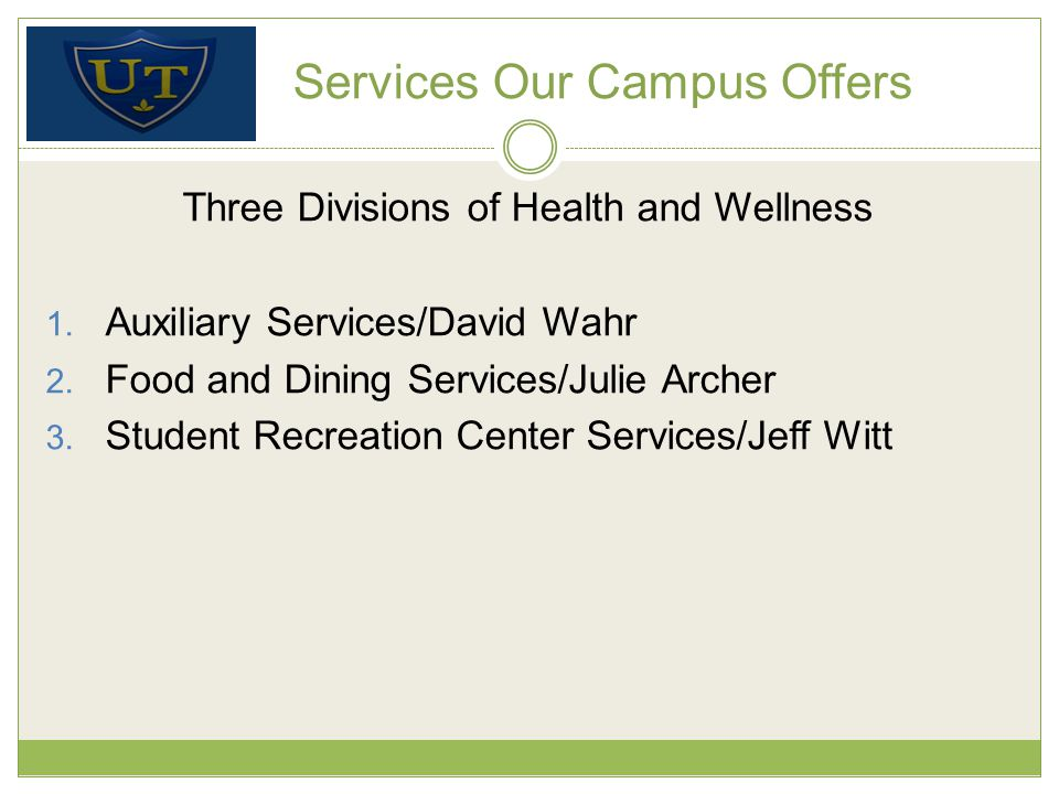 Services Our Campus Offers Three Divisions of Health and Wellness 1.