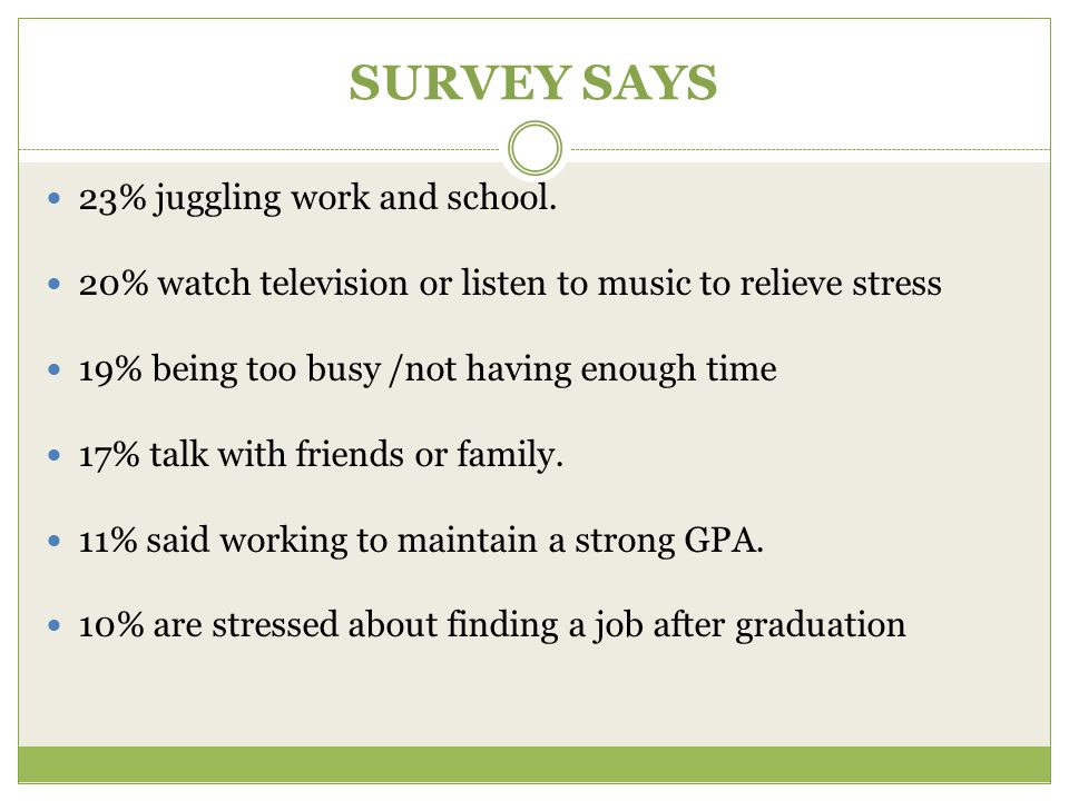 SURVEY SAYS 23% juggling work and school.