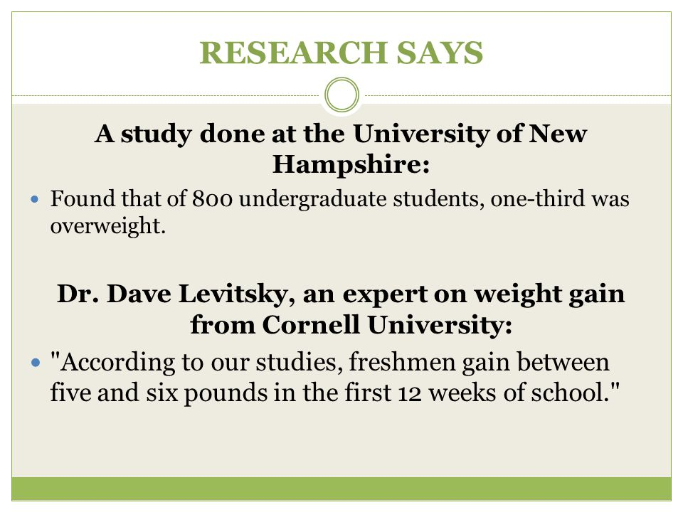 RESEARCH SAYS A study done at the University of New Hampshire: Found that of 800 undergraduate students, one-third was overweight.