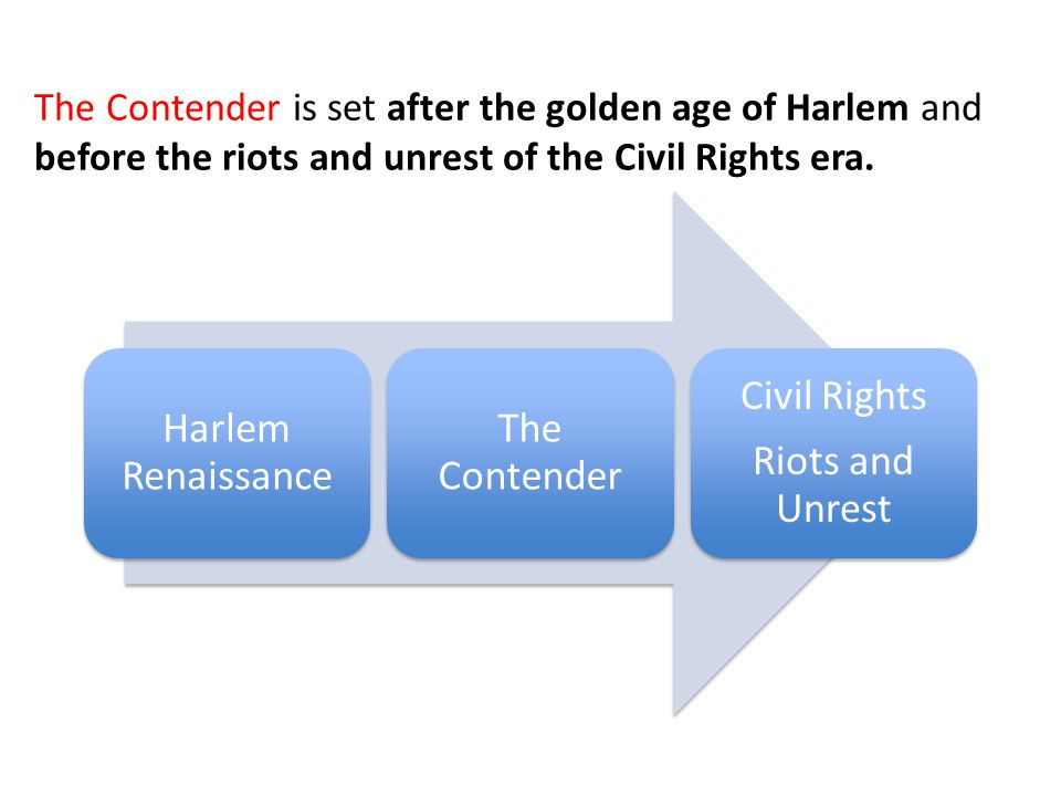 Harlem Renaissance The Contender Civil Rights Riots and Unrest The Contender is set after the golden age of Harlem and before the riots and unrest of
