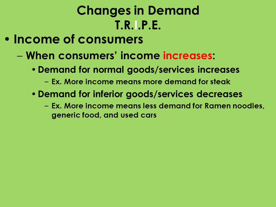 Changes in Demand T.R.I.P.E. Income of consumers – When consumers income increases: Demand for normal goods/services increases – Ex. More income means