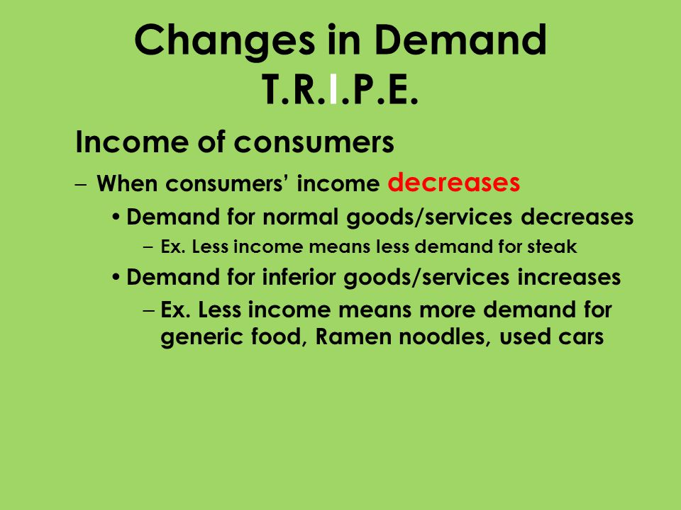 Changes in Demand T.R.I.P.E. Income of consumers – When consumers income decreases Demand for normal goods/services decreases – Ex. Less income means