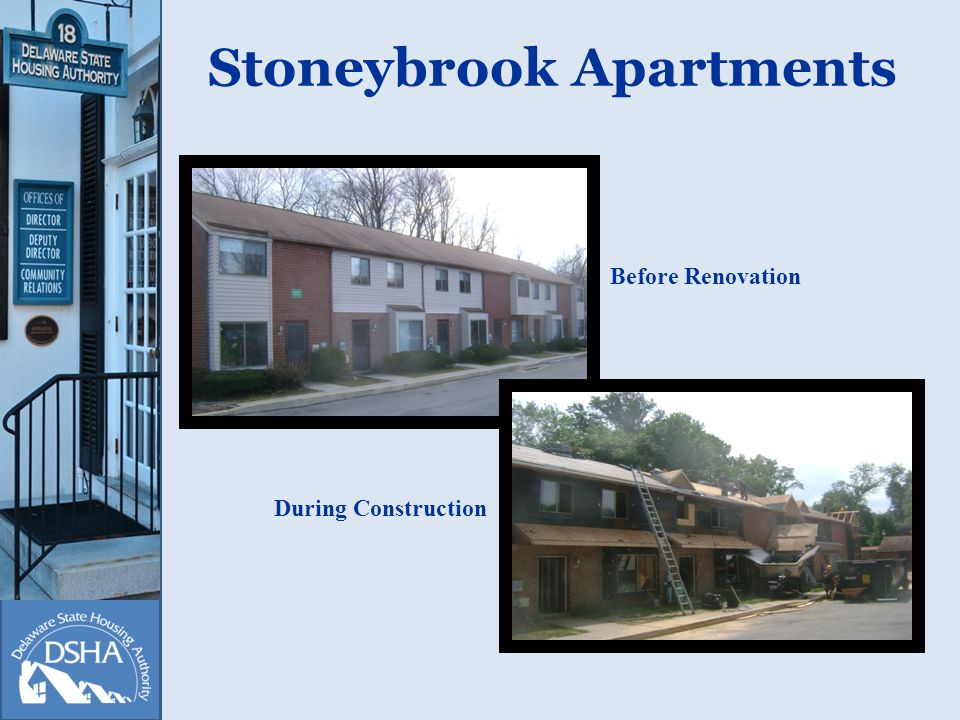 Stoneybrook Apartments Before Renovation During Construction