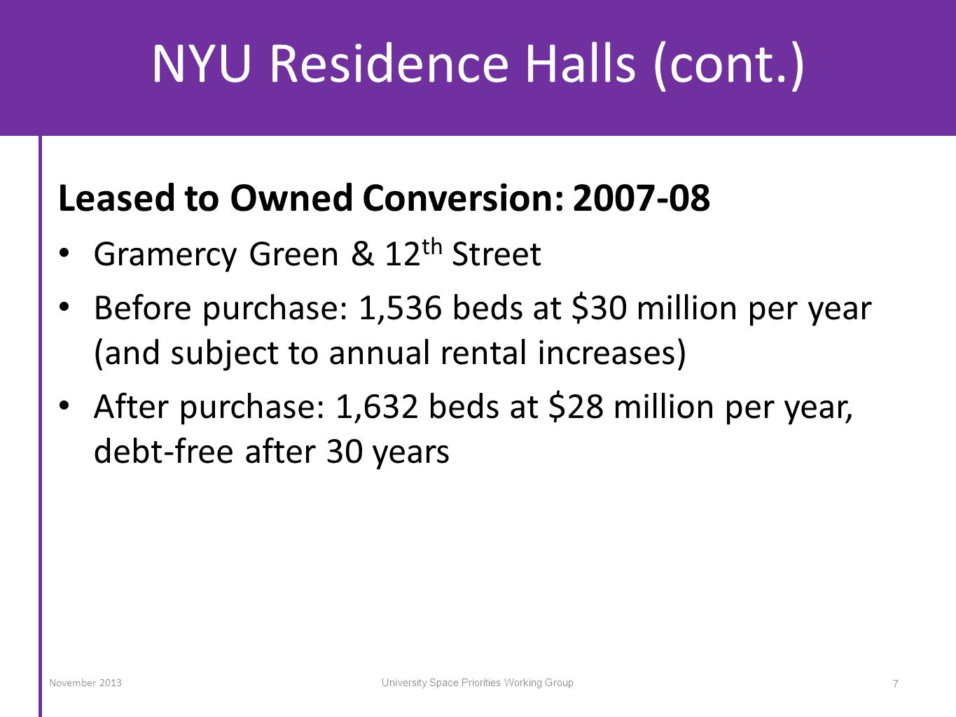 NYU Residence Halls (cont.) Leased to Owned Conversion: 2007-08 Gramercy Green & 12 th Street Before purchase: 1,536 beds at $30 million per year (and subject to annual rental increases) After purchase: 1,632 beds at $28 million per year, debt-free after 30 years 7 University Space Priorities Working Group November 2013