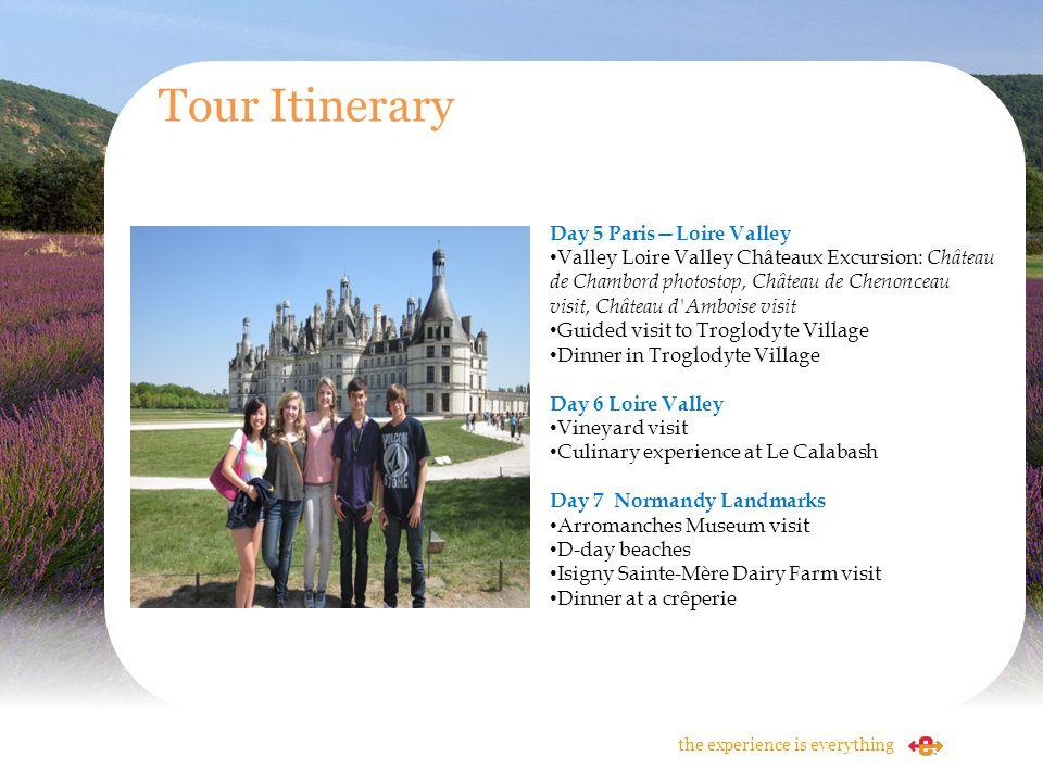 Tour Itinerary Day 5 ParisLoire Valley Valley Loire Valley Châteaux Excursion: Château de Chambord photostop, Château de Chenonceau visit, Château d'A