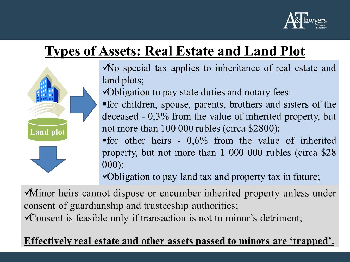 Types of Assets: Real Estate and Land Plot No special tax applies to inheritance of real estate and land plots; Obligation to pay state duties and notary fees: for children, spouse, parents, brothers and sisters of the deceased - 0,3% from the value of inherited property, but not more than 100 000 rubles (circa $2800); for other heirs - 0,6% from the value of inherited property, but not more than 1 000 000 rubles (circa $28 000); Obligation to pay land tax and property tax in future; Land plot Minor heirs cannot dispose or encumber inherited property unless under consent of guardianship and trusteeship authorities; Consent is feasible only if transaction is not to minors detriment; Effectively real estate and other assets passed to minors are trapped.