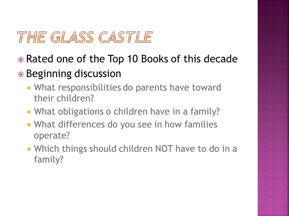 Rated one of the Top 10 Books of this decade Beginning discussion What responsibilities do parents have toward their children.