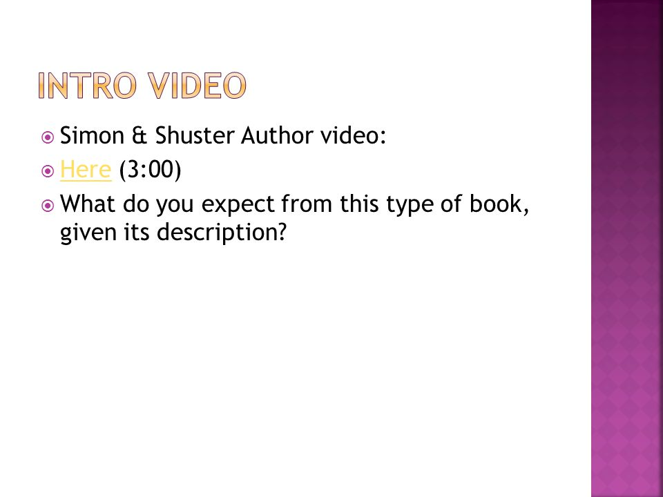 Simon & Shuster Author video: Here (3:00) Here What do you expect from this type of book, given its description