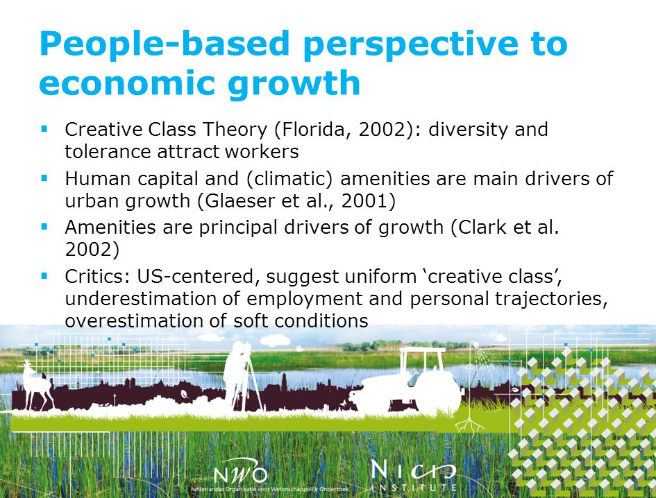 Creative Class Theory (Florida, 2002): diversity and tolerance attract workers Human capital and (climatic) amenities are main drivers of urban growth (Glaeser et al., 2001) Amenities are principal drivers of growth (Clark et al.