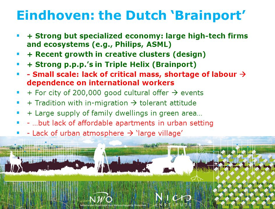 + Strong but specialized economy: large high-tech firms and ecosystems (e.g., Philips, ASML) + Recent growth in creative clusters (design) + Strong p.p.p.s in Triple Helix (Brainport) - Small scale: lack of critical mass, shortage of labour dependence on international workers + For city of 200,000 good cultural offer events + Tradition with in-migration tolerant attitude + Large supply of family dwellings in green area… - …but lack of affordable apartments in urban setting - Lack of urban atmosphere large village Eindhoven: the Dutch Brainport