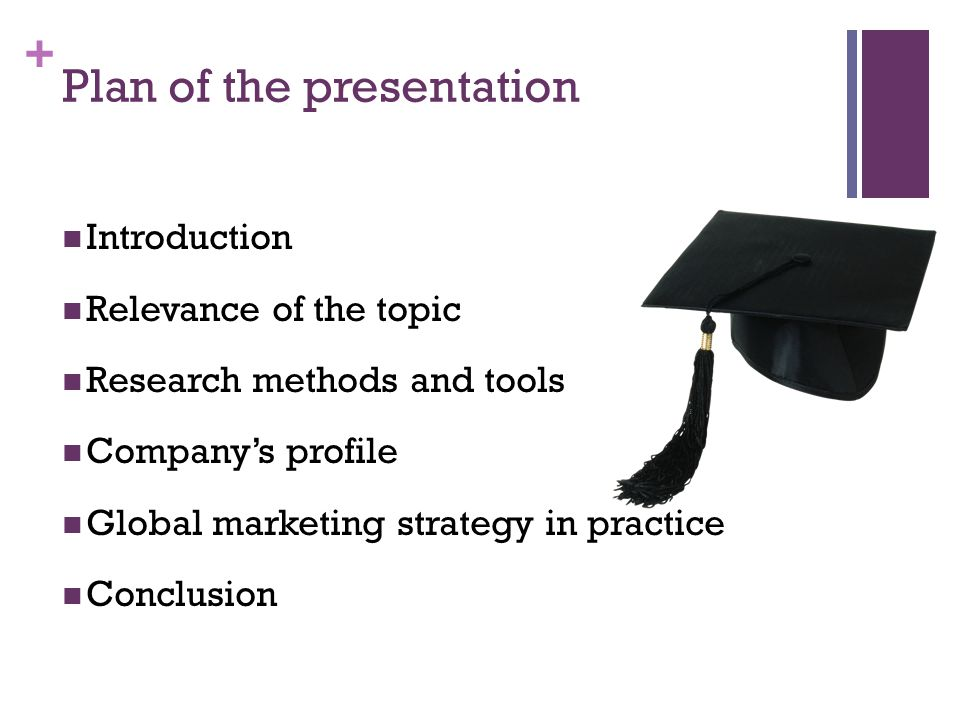 + Plan of the presentation Introduction Relevance of the topic Research methods and tools Companys profile Global marketing strategy in practice Conclusion