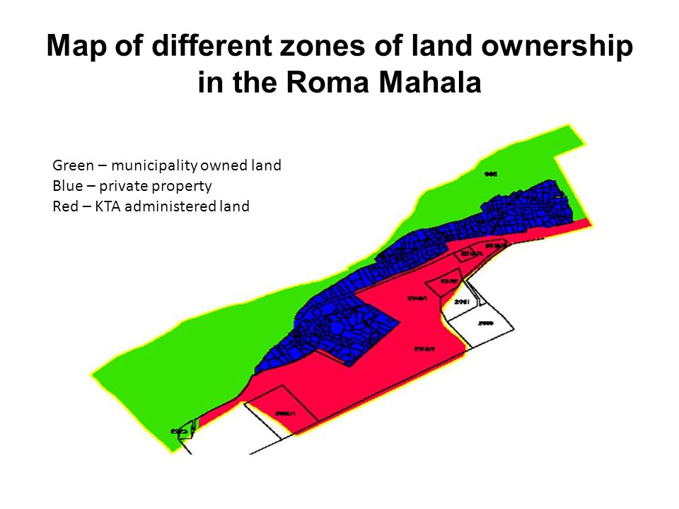 Map of different zones of land ownership in the Roma Mahala Green – municipality owned land Blue – private property Red – KTA administered land