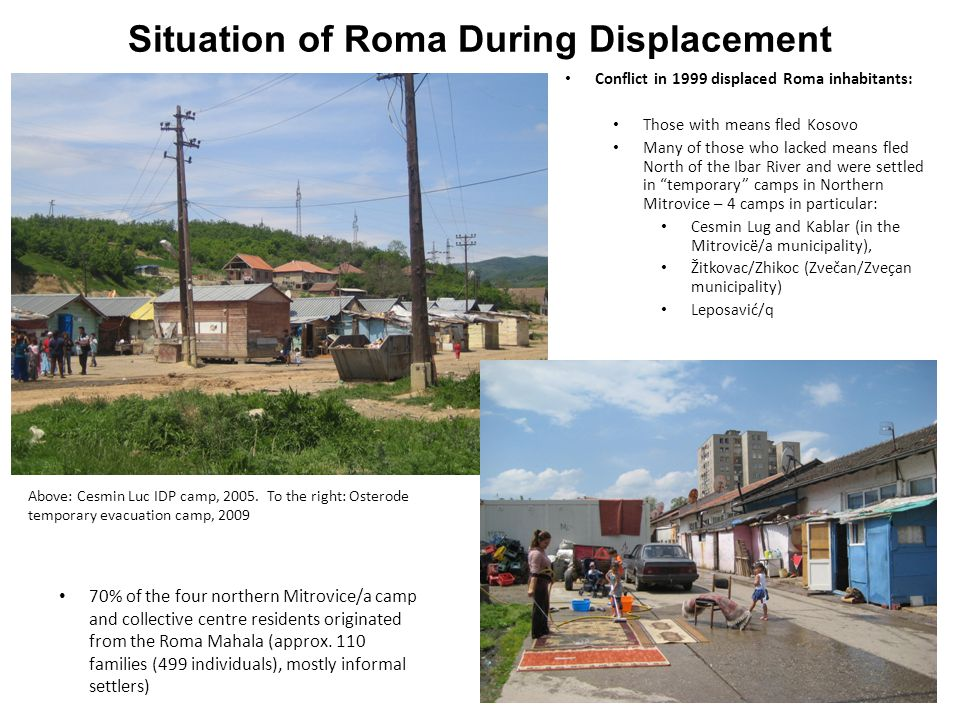 Situation of Roma During Displacement Conflict in 1999 displaced Roma inhabitants: Those with means fled Kosovo Many of those who lacked means fled No