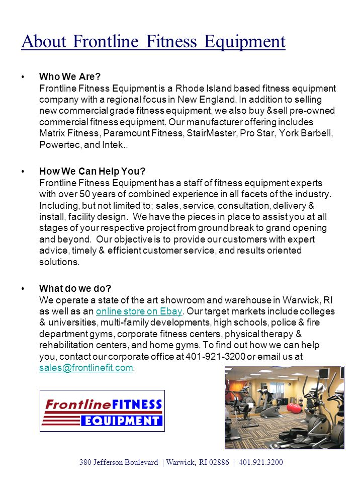 About Frontline Fitness Equipment Who We Are.
