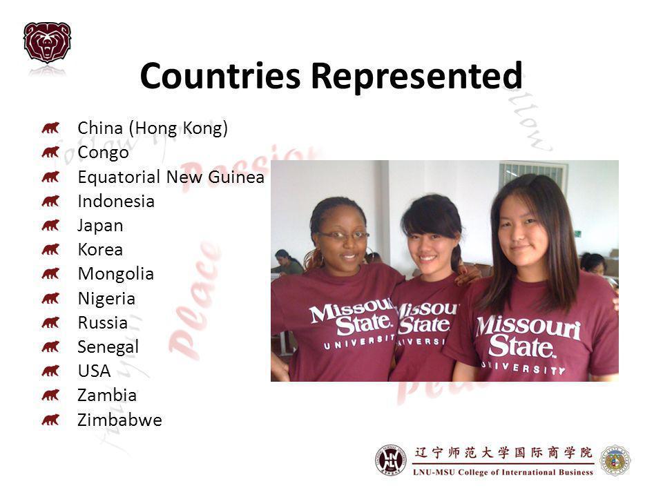 Countries Represented China (Hong Kong) Congo Equatorial New Guinea Indonesia Japan Korea Mongolia Nigeria Russia Senegal USA Zambia Zimbabwe