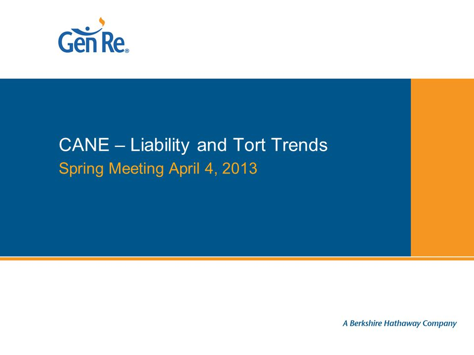 Spring Meeting April 4, 2013 CANE – Liability and Tort Trends