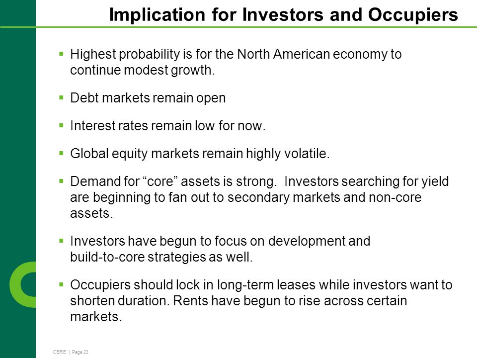 CBRE | Page 23 Implication for Investors and Occupiers Highest probability is for the North American economy to continue modest growth.