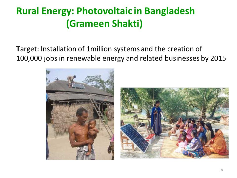 18 Rural Energy: Photovoltaic in Bangladesh (Grameen Shakti) Target: Installation of 1million systems and the creation of 100,000 jobs in renewable energy and related businesses by 2015