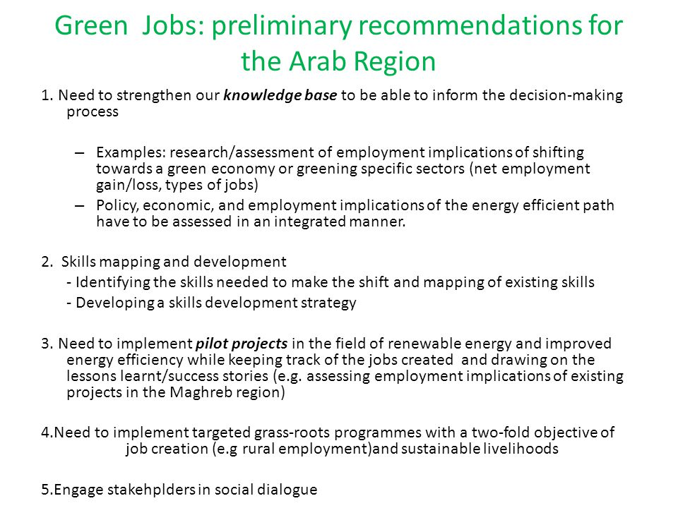 Green Jobs: preliminary recommendations for the Arab Region 1.