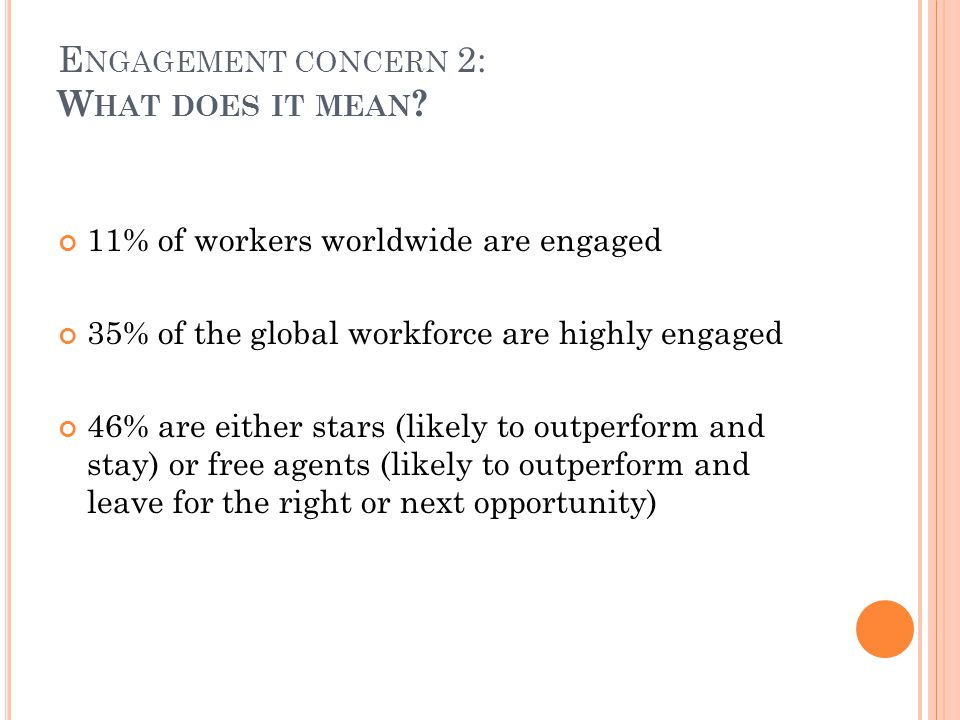 E NGAGEMENT CONCERN 2: W HAT DOES IT MEAN .