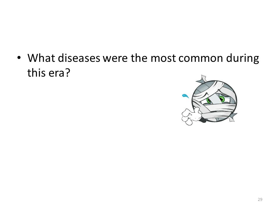 29 What diseases were the most common during this era?