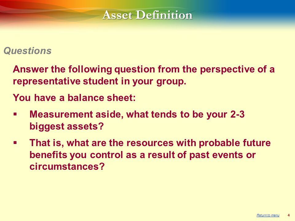 4 Asset Definition Answer the following question from the perspective of a representative student in your group.