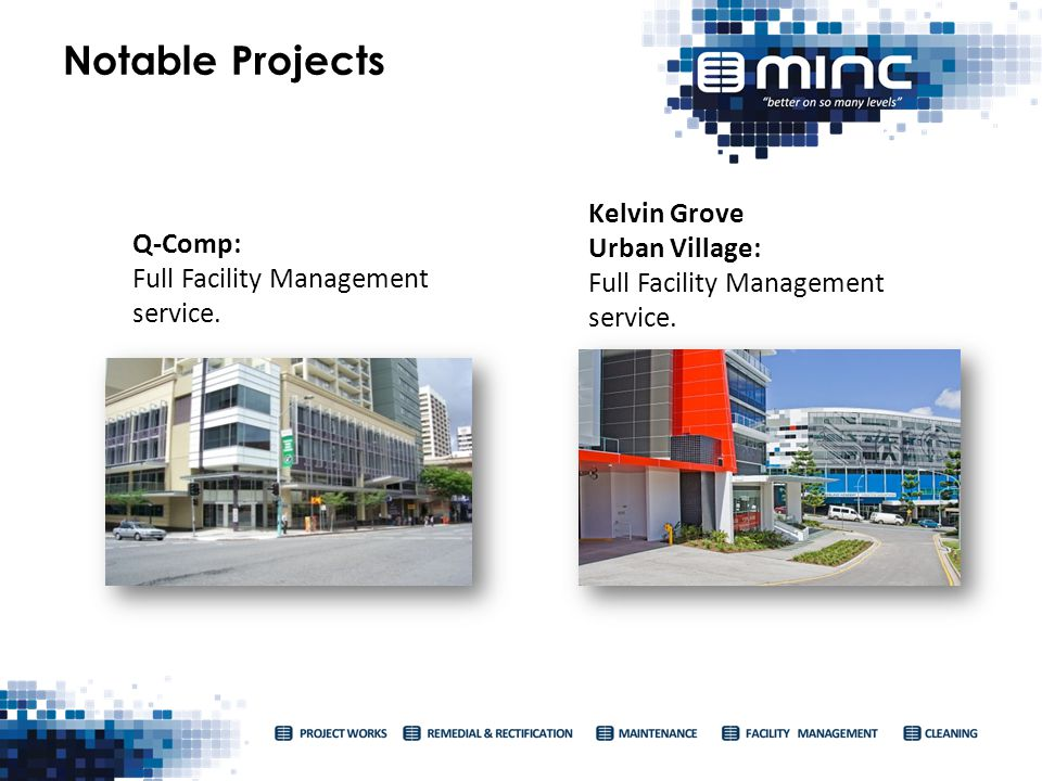 Notable Projects Kelvin Grove Urban Village: Full Facility Management service.