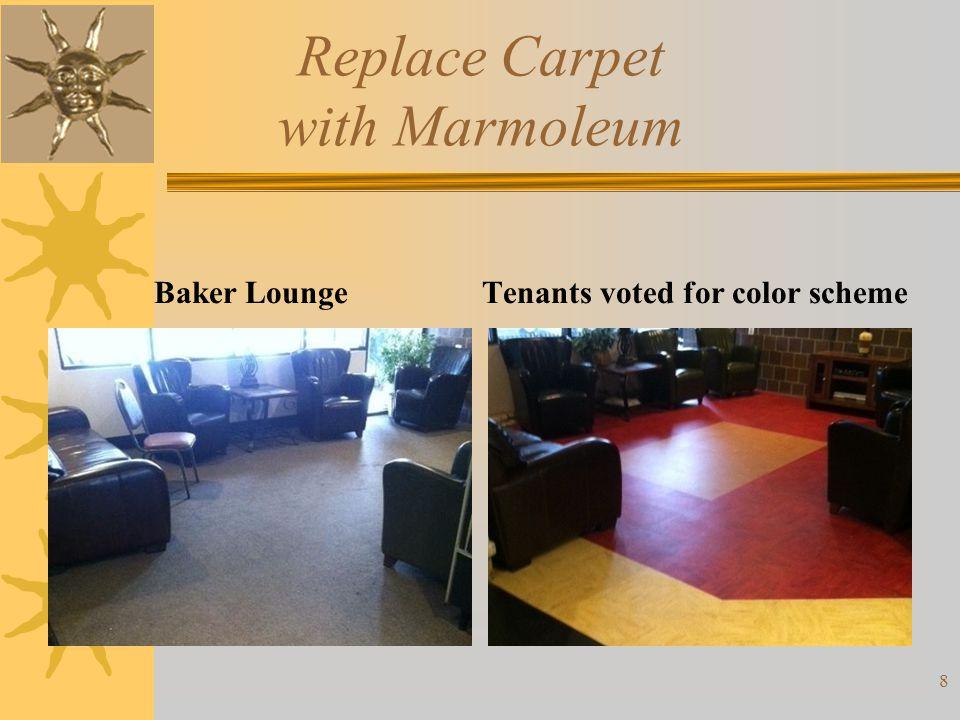 Replace Carpet with Marmoleum Baker LoungeTenants voted for color scheme 8