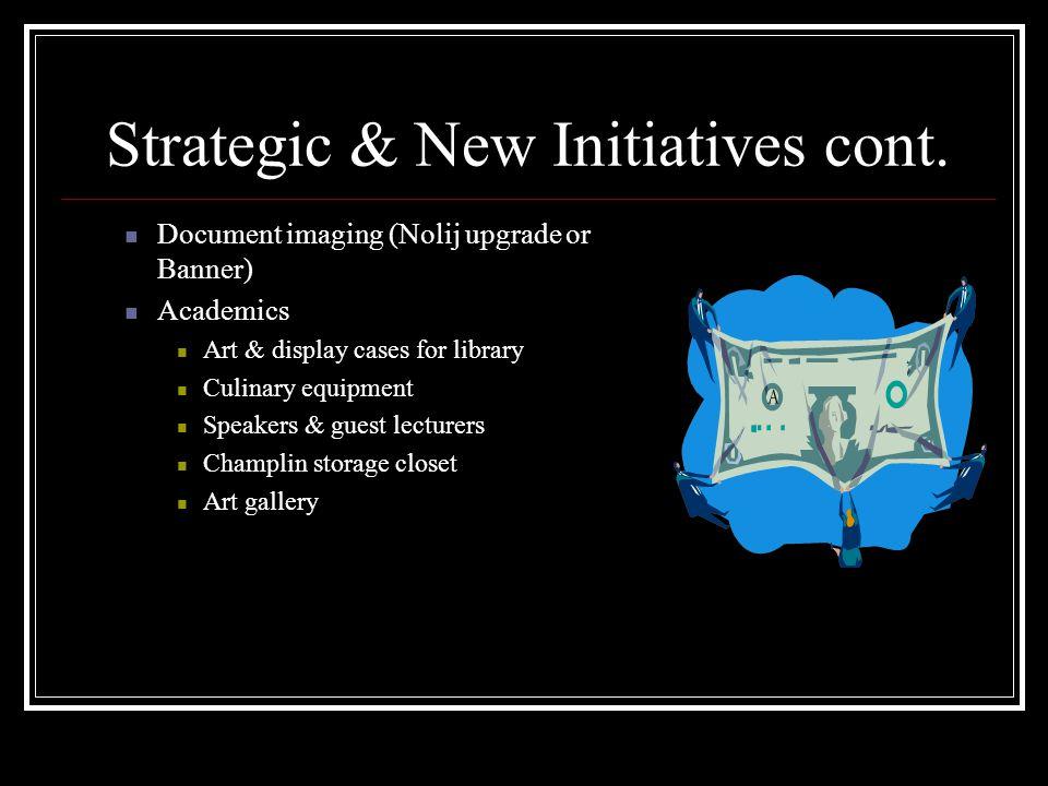 Strategic & New Initiatives cont.