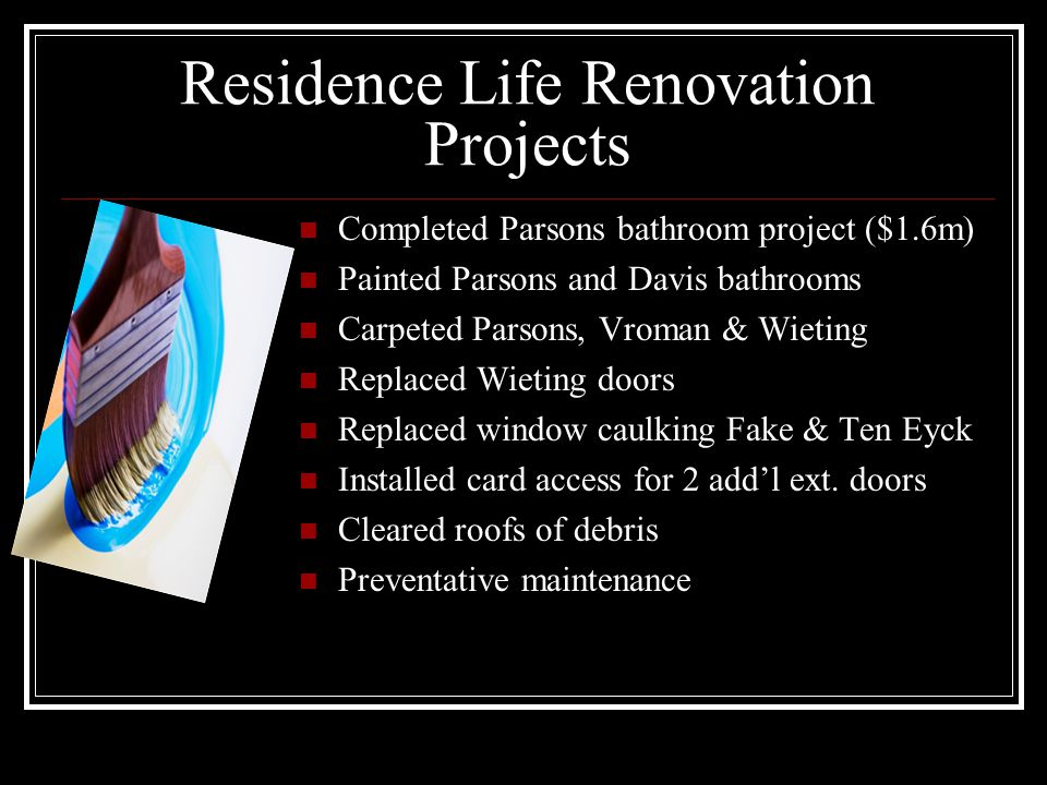Residence Life Renovation Projects Completed Parsons bathroom project ($1.6m) Painted Parsons and Davis bathrooms Carpeted Parsons, Vroman & Wieting Replaced Wieting doors Replaced window caulking Fake & Ten Eyck Installed card access for 2 addl ext.