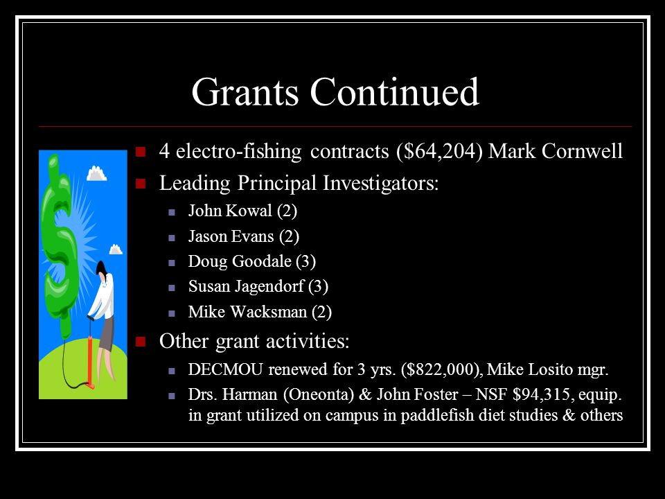 Grants Continued 4 electro-fishing contracts ($64,204) Mark Cornwell Leading Principal Investigators: John Kowal (2) Jason Evans (2) Doug Goodale (3) Susan Jagendorf (3) Mike Wacksman (2) Other grant activities: DECMOU renewed for 3 yrs.